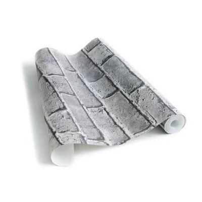 papier peint brique gris clair la redoute
