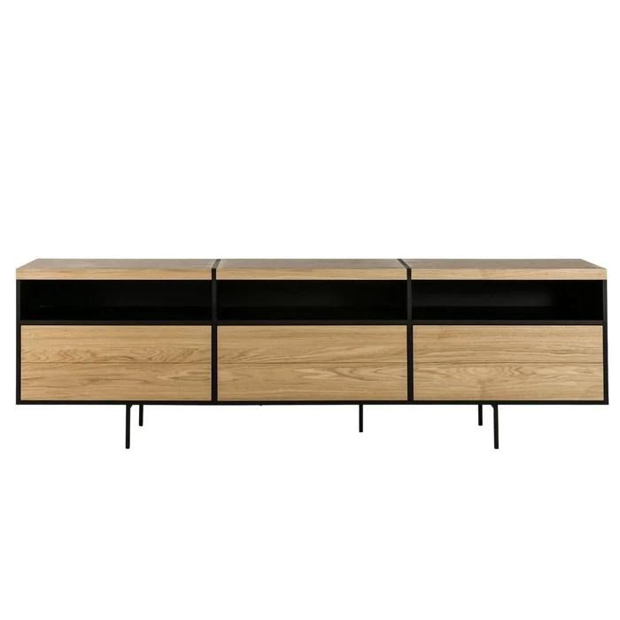 meuble tv bas moderne en bois et metal brighton