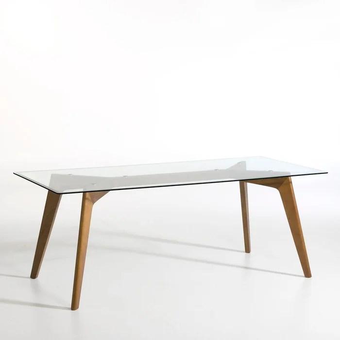 table rectangulaire verre et noyer kristal