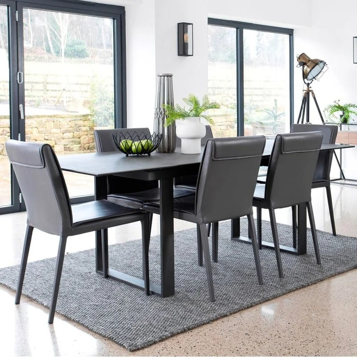 table de salle a manger plateau en ceramique extensible 176 216cm style contemporain toronto