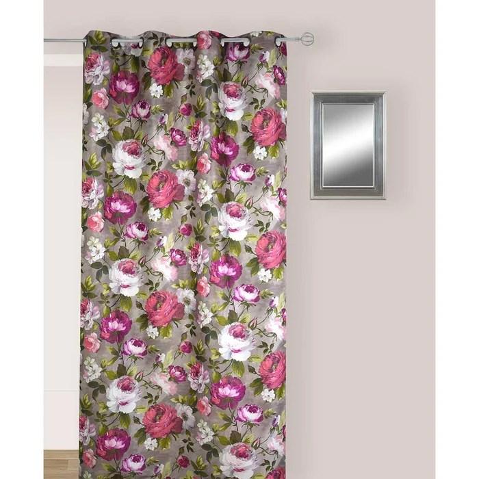 rideau multicolores en jacquard aux motifs fleuris