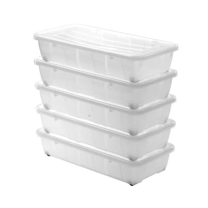 lot de 5 boites rangement 30l dessous de lit