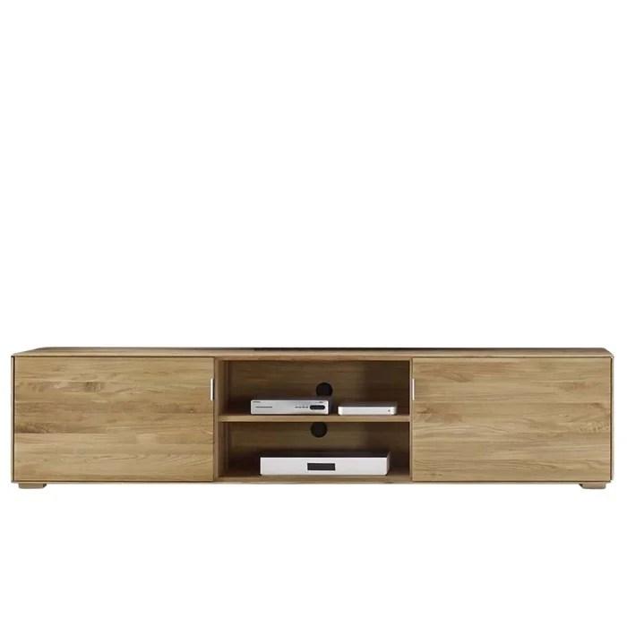 meuble tv bas 2 portes en chene naturel filigrame