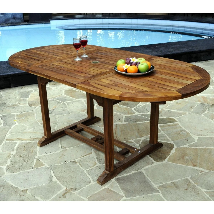 table ovale de jardin en teck huile avec rallonge papillon 120 180 x 90 cm