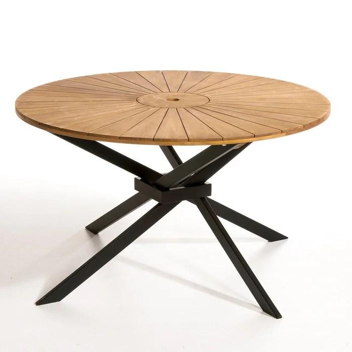 Table de jardin ronde jakta naturelnoir AmPm  La Redoute