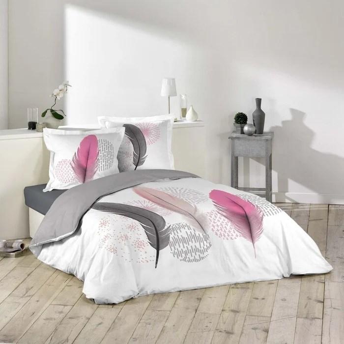 Parure Housse De Couette Imprime Collection Plumes Pink