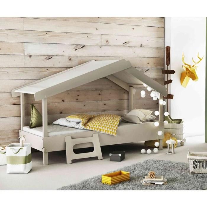 lit enfant cabane en bois gris