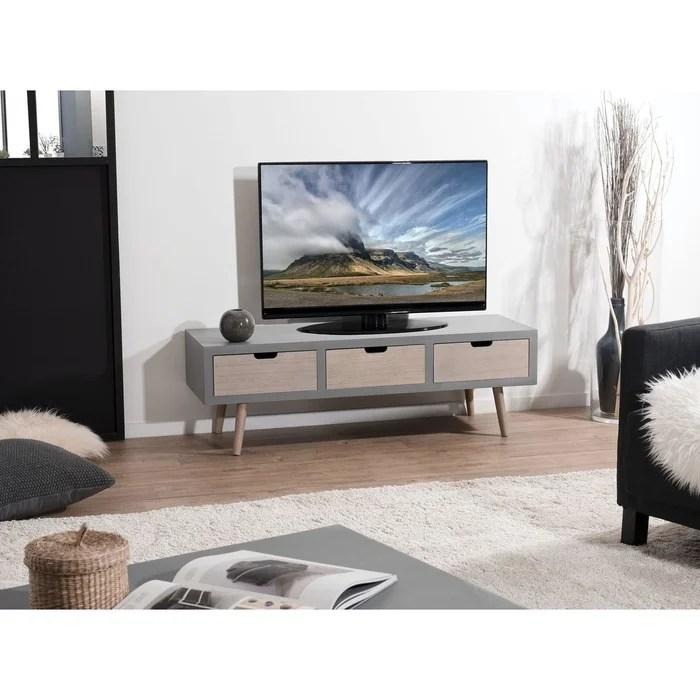 meuble tv 120cm bois pin gris effet beton 3 tiroirs style contemporain lorens