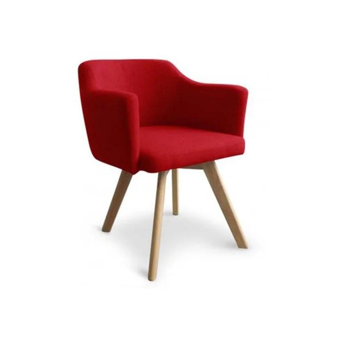 fauteuil scandinave rouge teiki
