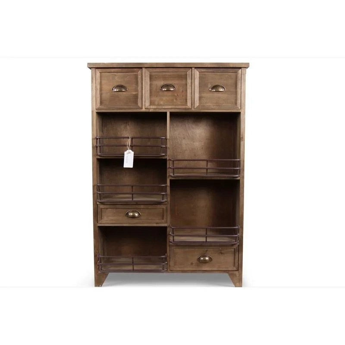 meuble rangement bois 2 tiroirs marron 80x30x114 5cm