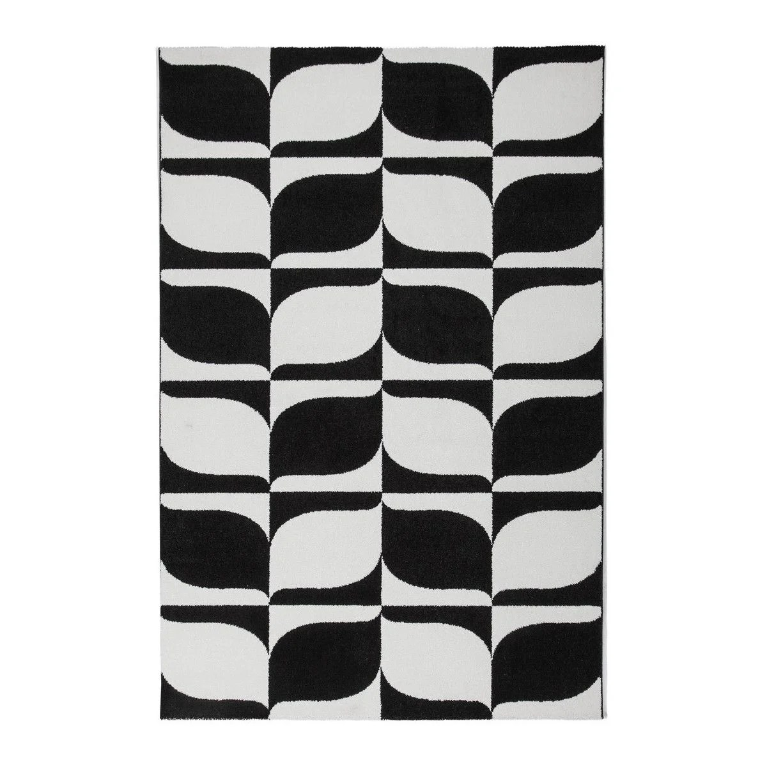 tapis contemporain noir et blanc en polypropylene milo