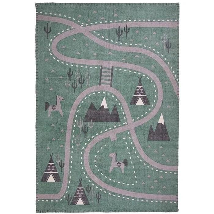 tapis enfant design little western vert coton cree par nattiot