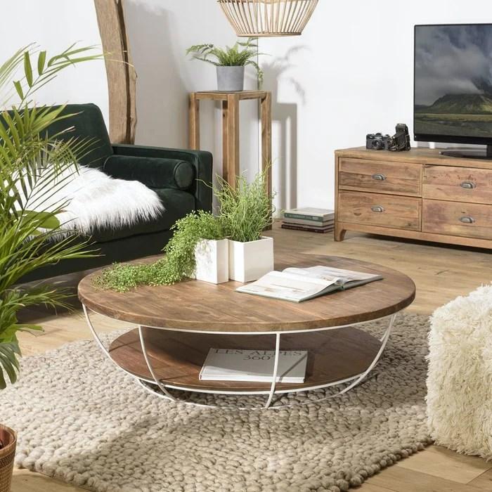 table basse ronde double plateau bois recycle de teck et metal blanc 120 cm scandinave swing