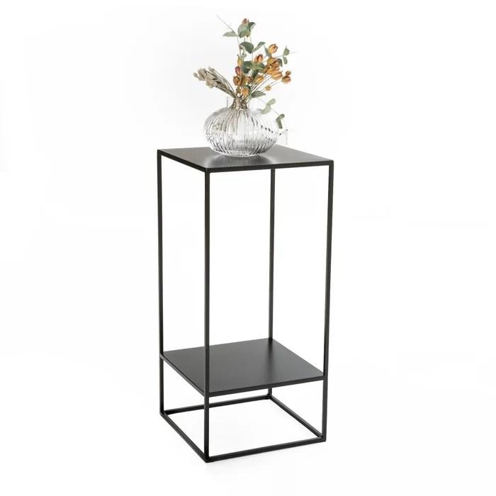 hiba two tier side pedestal table in metal
