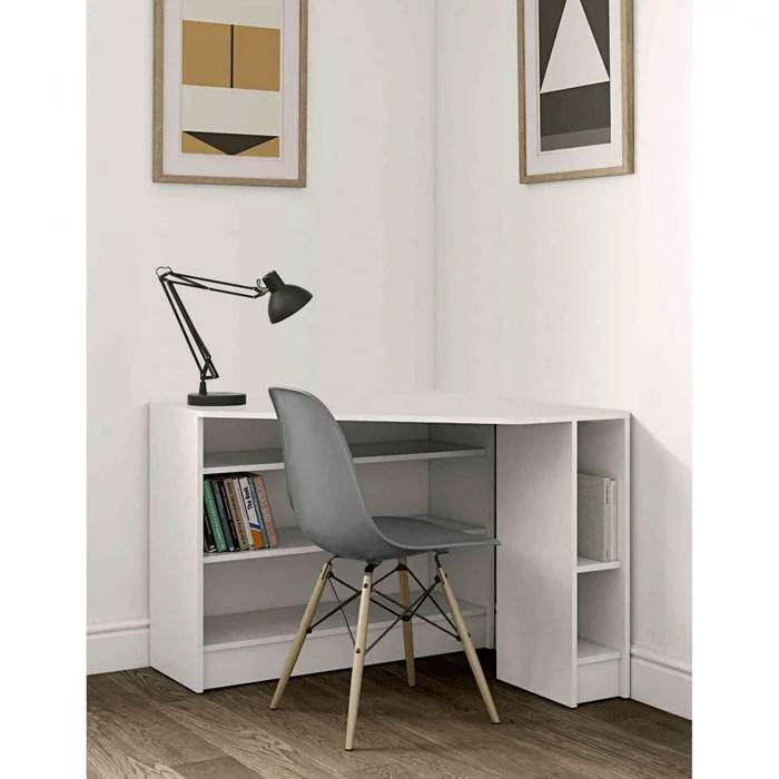 bureau d angle en bois blanc et beton bu6013