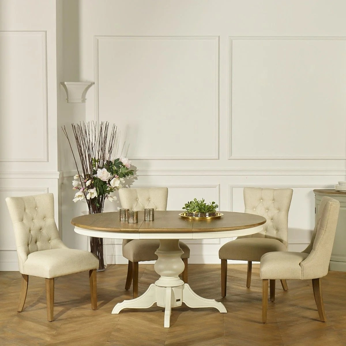 table ronde extensible 6 a 8 couverts blanche ariane