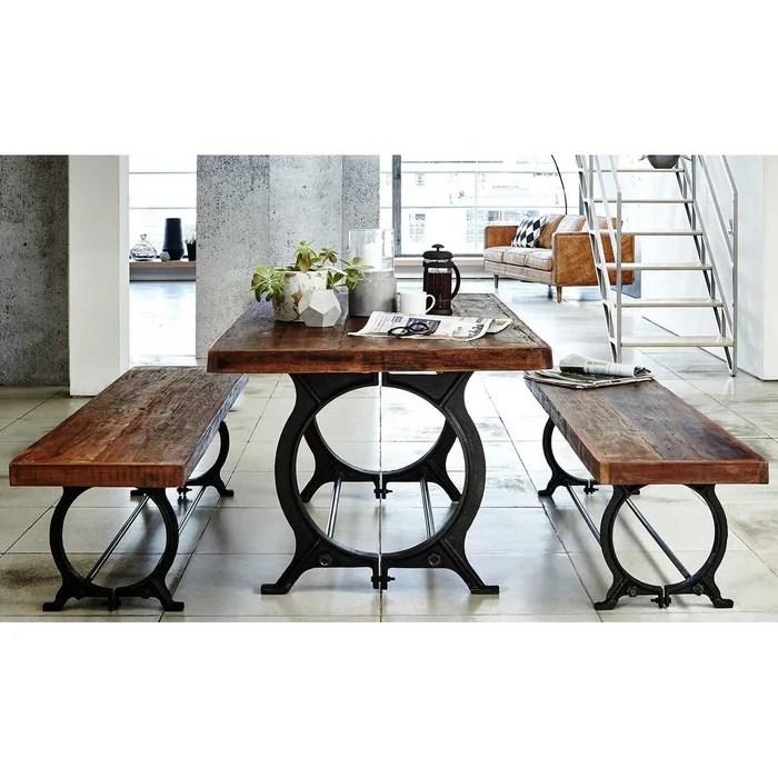 table a manger style industriel bois recycle et pieds metal 180x90cm leeds