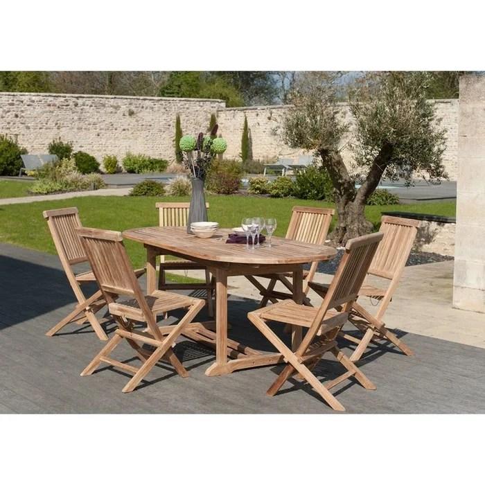 salon de jardin table d exterieur extensible ovale 150 200x90cm 6 chaises pliantes en bois de teck summer
