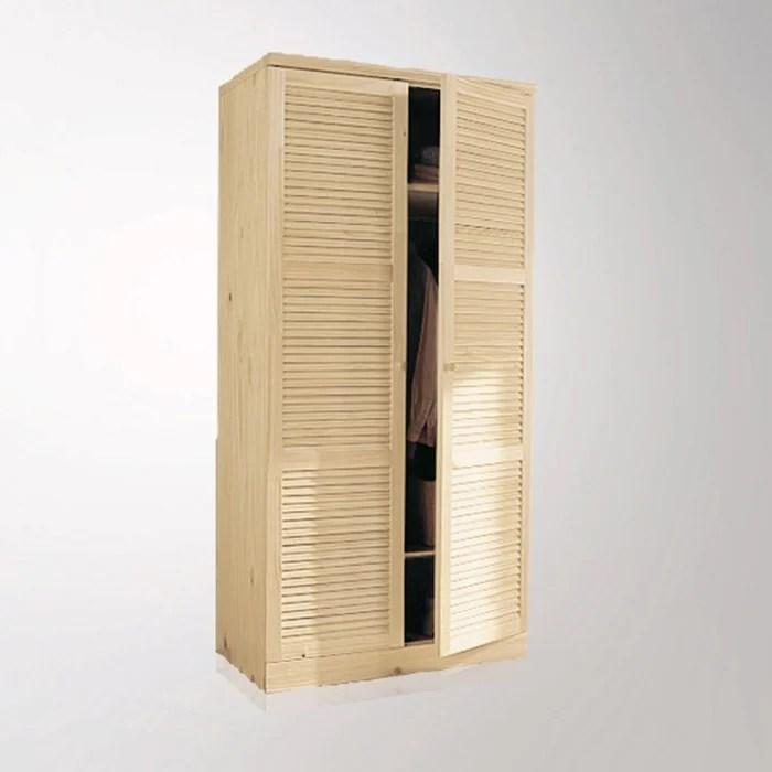armoire pin massif h205 cm penderie mayor la redoute interieurs bois clair brut la redoute