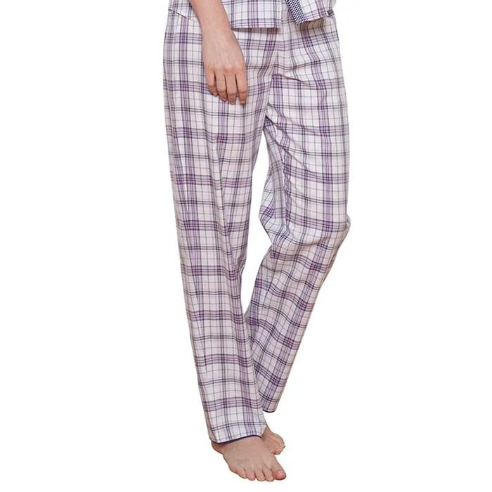 Abigail Pantalon De Pyjama En Coton M Carreaux Violet