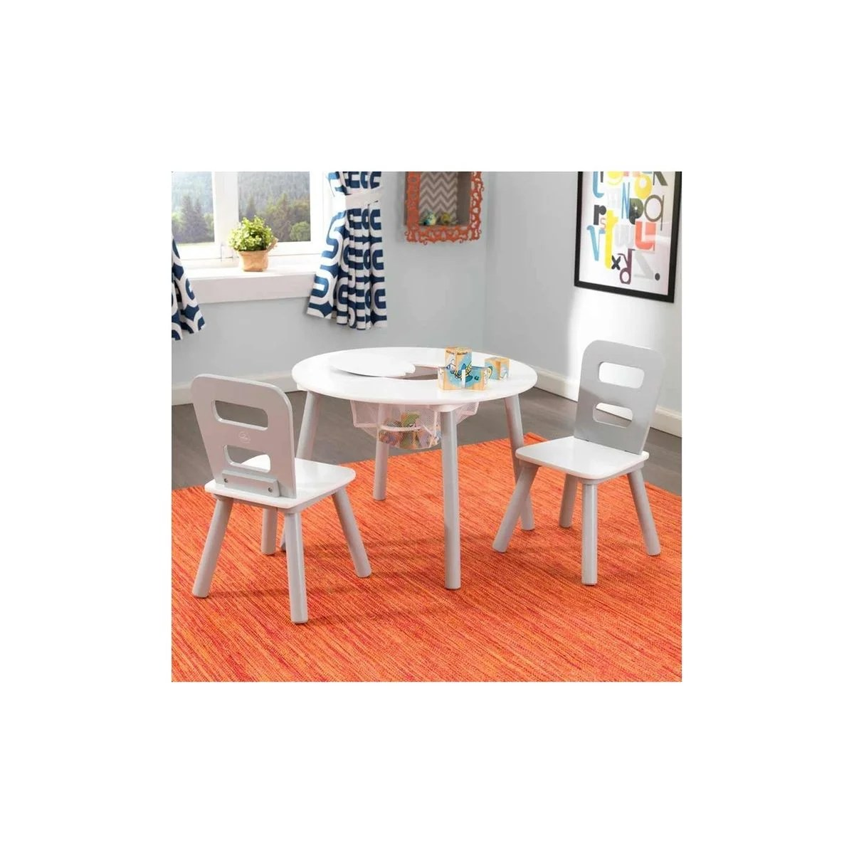 ensemble chaises et table ronde gris