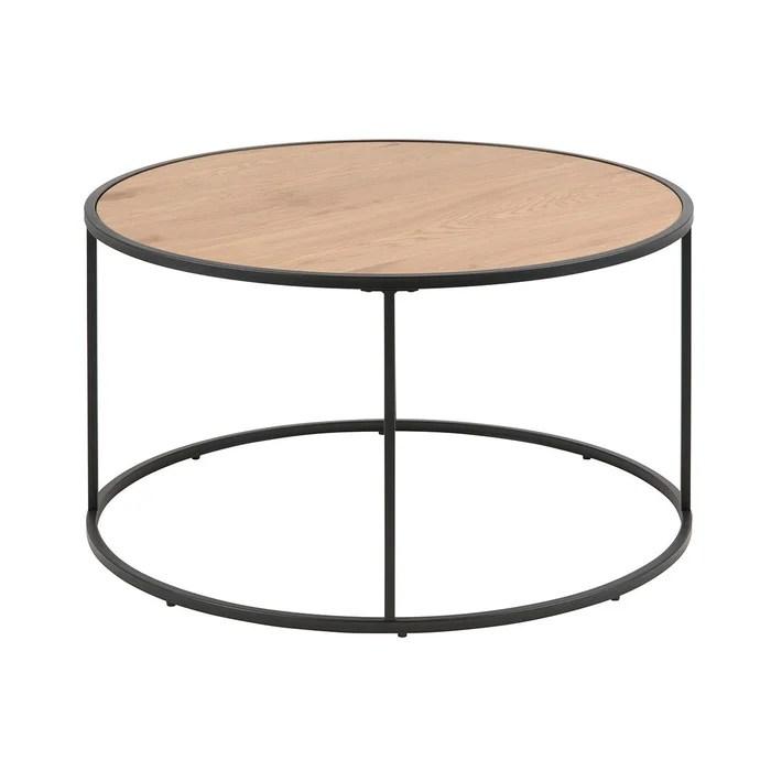 table basse ronde bois et metal d80 cm tresca