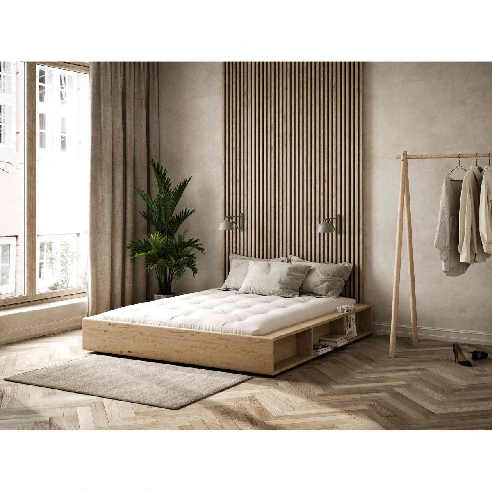 lit en pin massif avec multiples rangements