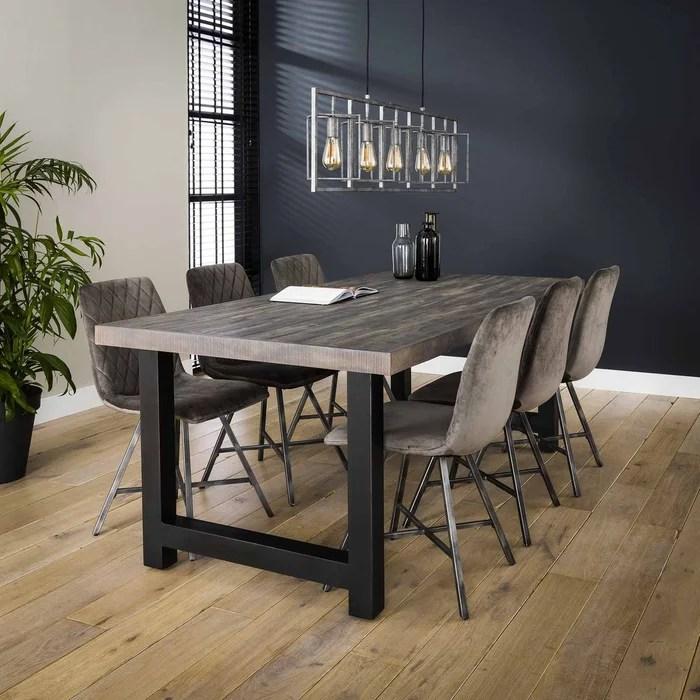 table salle a manger bois metal style industriel lamelles de bois recycle gris 165x90cm tasmanie