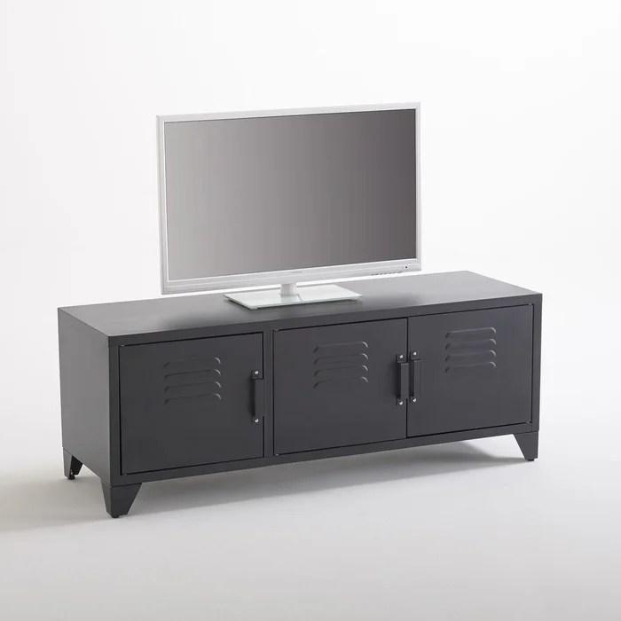 meuble tv style indus 3 portes noir mat hiba