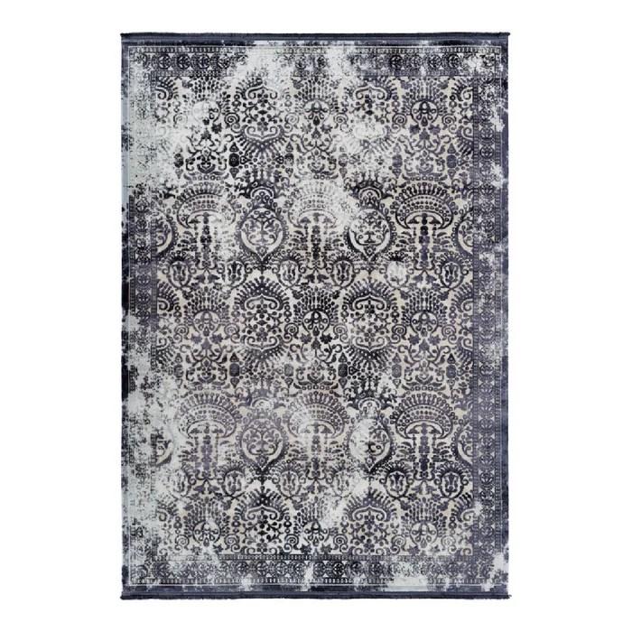 tapis vintage argente avec franges raye pour salon elysee