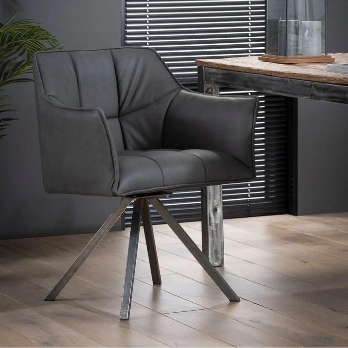 fauteuil de table avec accoudoirs tissu et pied etoile lucknow