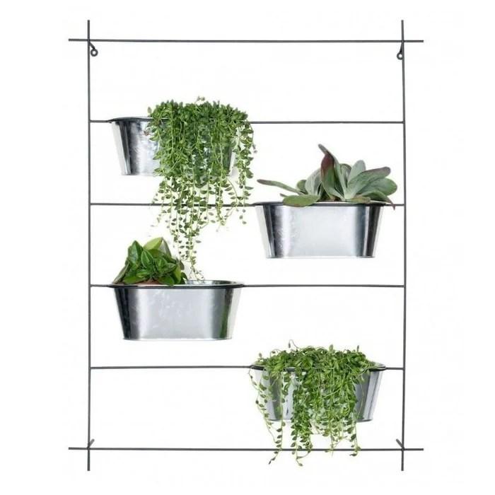 support pots plantes mural etage en metal noir et pots argentes