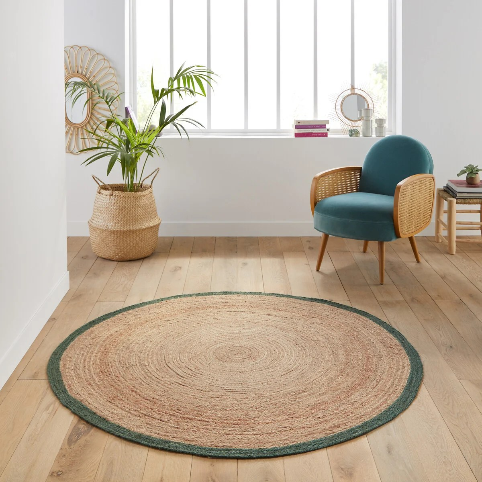 runder teppich aftas aus jute baumwolle