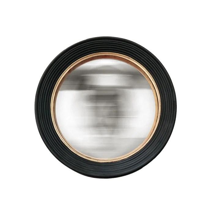 miroir convexe noir et dore 48 cm