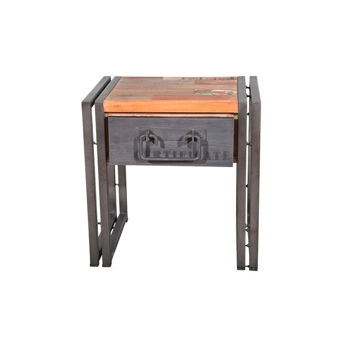 table de chevet bout de canape bois recycle 1 tiroir 40x30x40cm caravelle