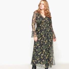 Imagen de Vestido largo con estampado de flores, de manga larga CASTALUNA