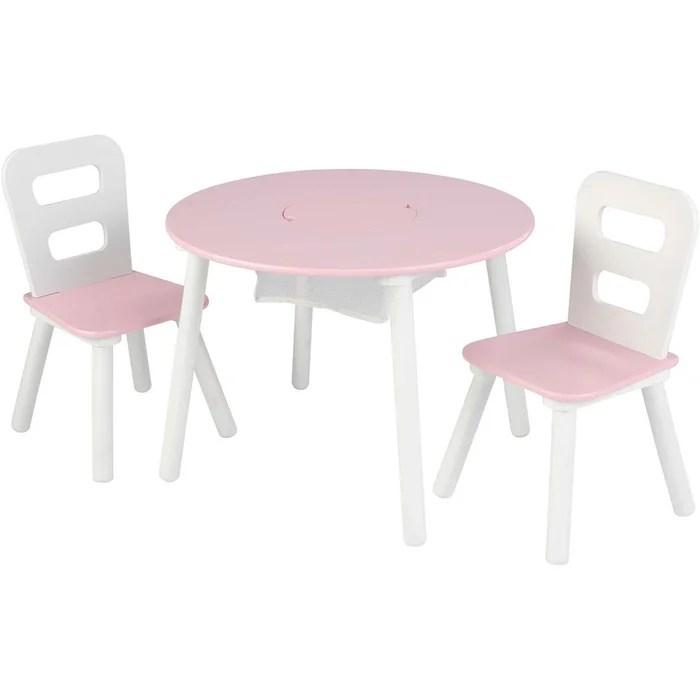table ronde et ses deux chaises gris blanc