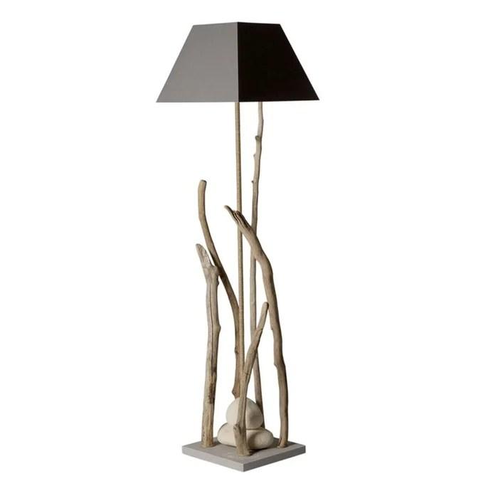 grande lampe sur pied bois flotte