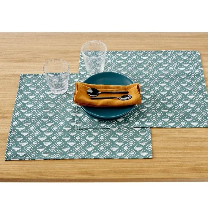 lot de 2 sets de table imprimes anti taches lodge