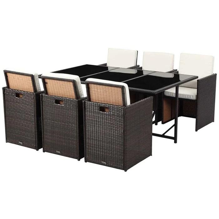 salon de jardin resine tressee chicago 6 1 table 6 fauteuils