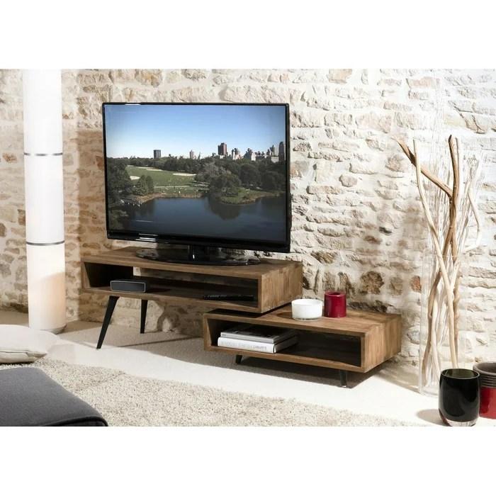 meuble tv 100cm bois de teck recycle destructure 2 niches style contemporain swing