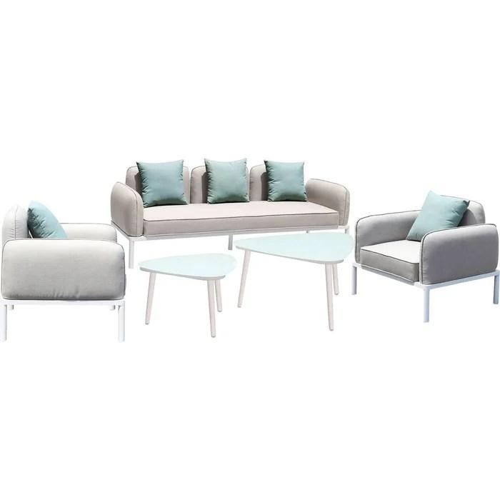 salon de jardin en tissu sevilla 1 canape 3 places 1 canape 2 places 2 fauteuils 2 tables basses gris