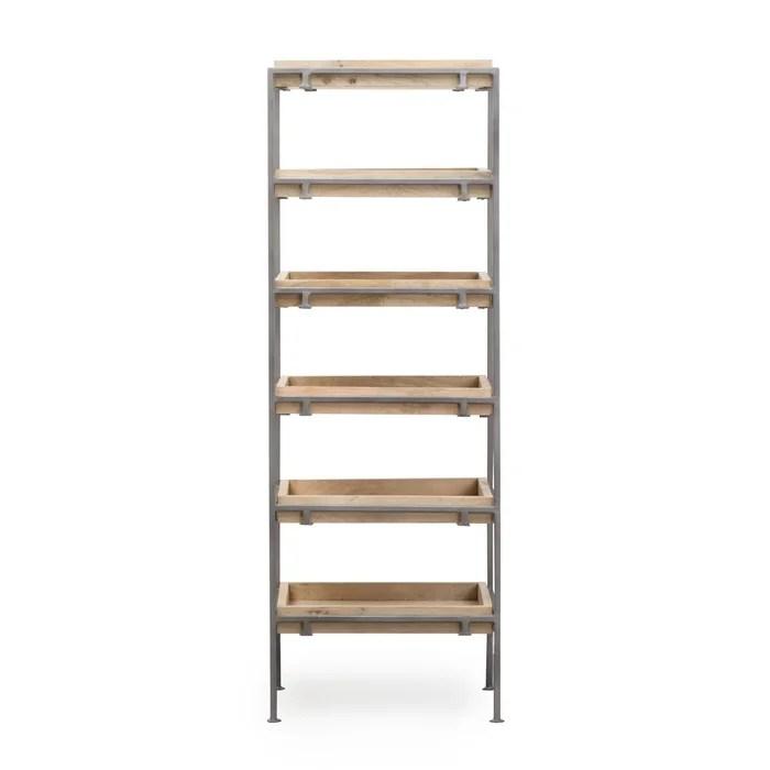 etagere planches bois et metal