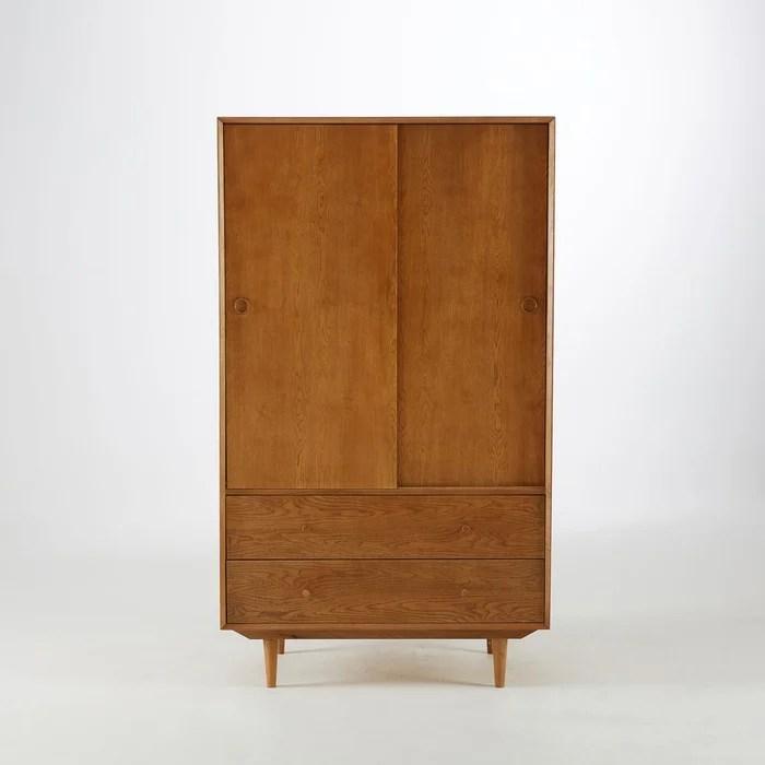 armoire penderie vintage quilda bois clair chene la redoute interieurs la redoute