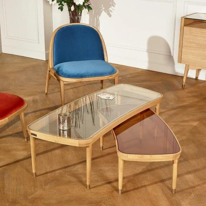 table basse gigogne bois et verre yvonne