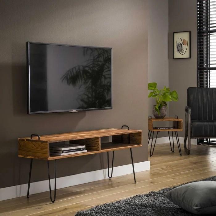 meuble tv 110cm bois acacia massif pieds epingles metal 2 niches style contemporain melbourne