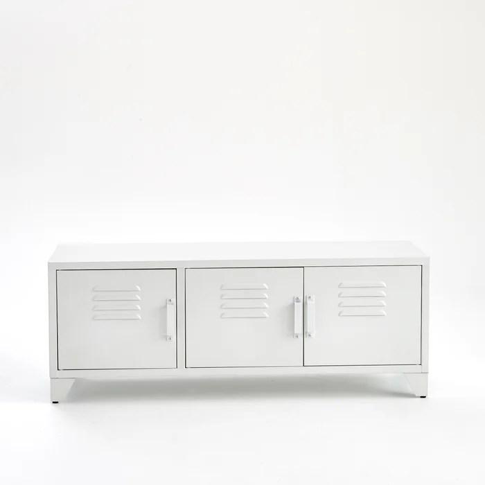 meuble tv style indus 3 portes blanc mat hiba