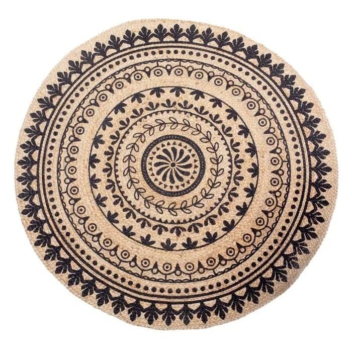 tapis rond jute beige et noir diam120cm mandala