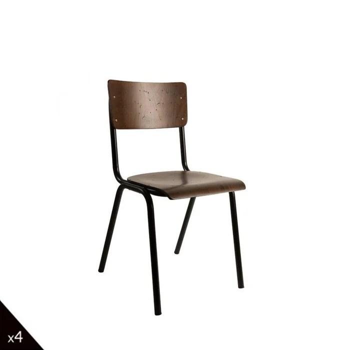 4 chaises vintage metal bois scuola