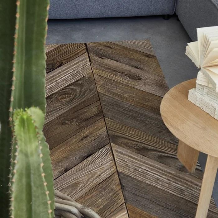 tapis vinyle parquet chevrons pin antique augusta